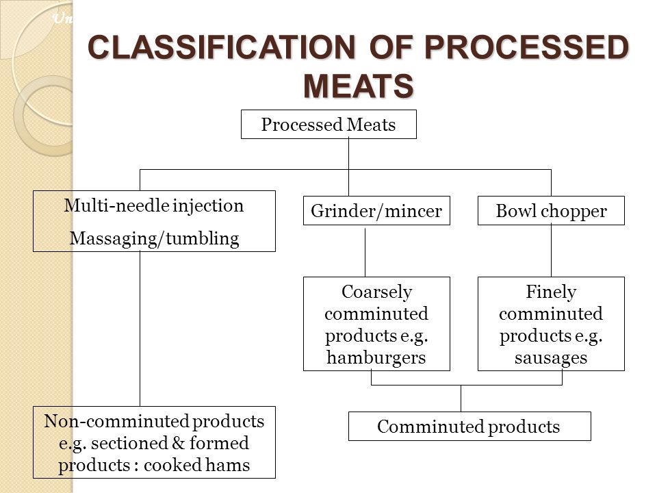 CLASSIFICATION OF PROCESSED MEATS