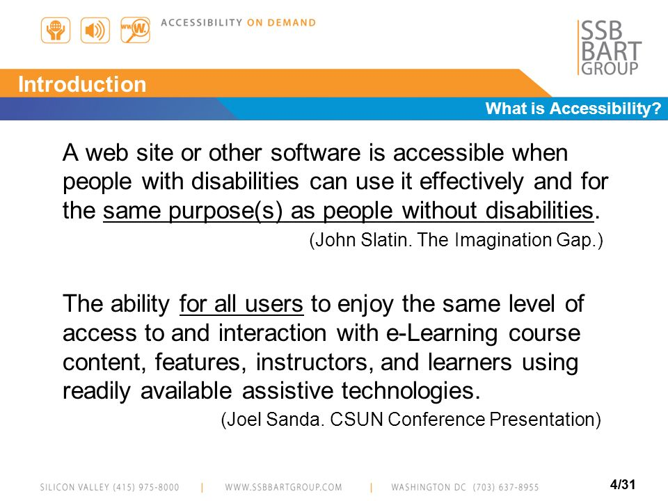 Introduction What is Accessibility