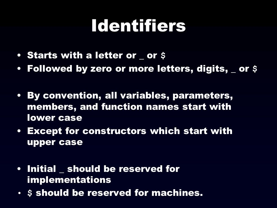 Identifiers Starts with a letter or _ or $