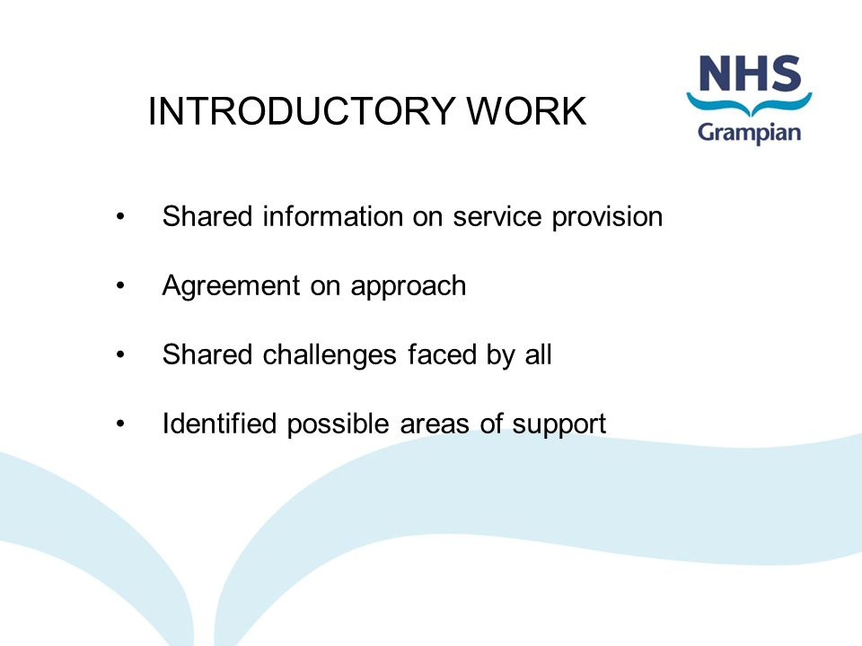 INTRODUCTORY WORK Shared information on service provision