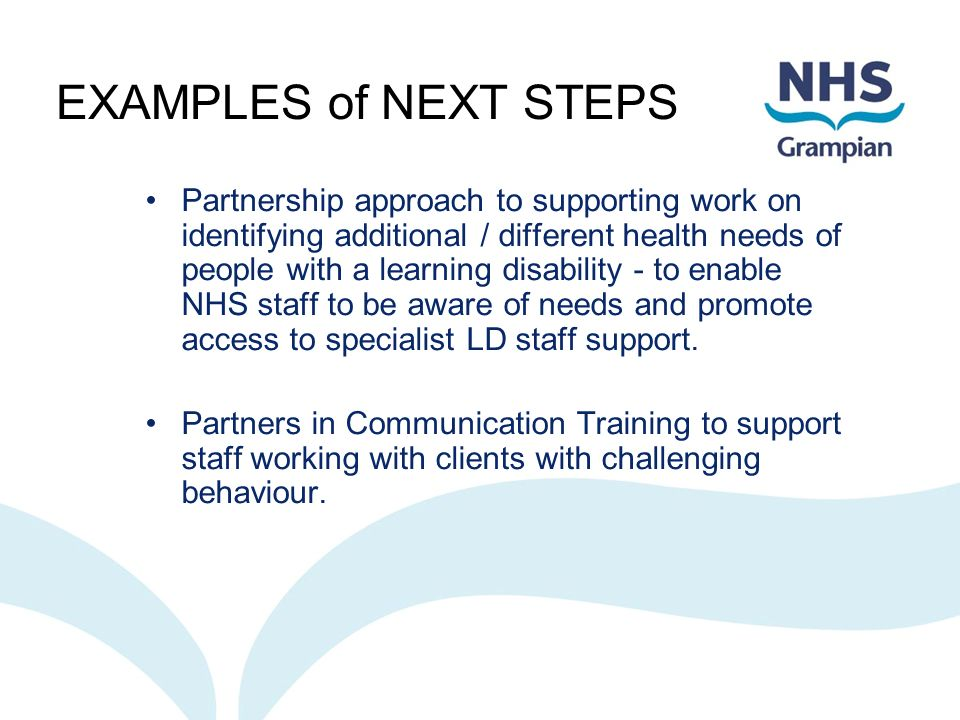 EXAMPLES of NEXT STEPS