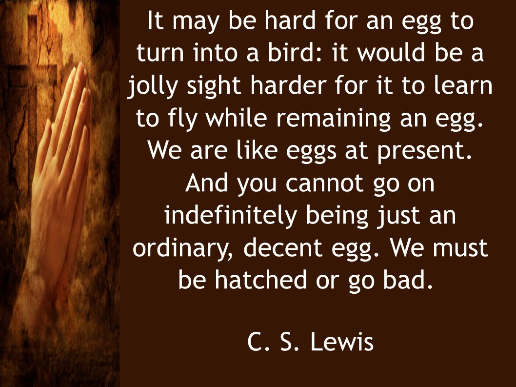 It may be hard for an egg to turn into a bird: it would be a jolly sight harder for it to learn to fly while remaining an egg. We are like eggs at present. And you cannot go on indefinitely being just an ordinary, decent egg. We must be hatched or go bad.