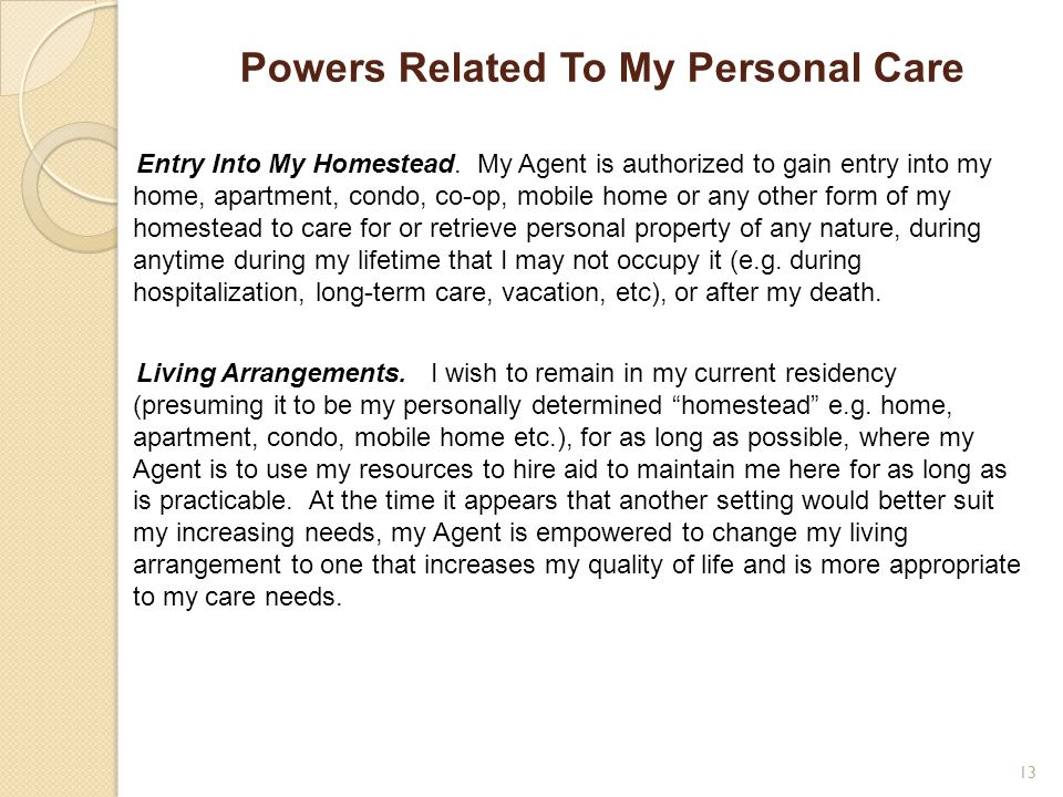 Powers Related To My Personal Care