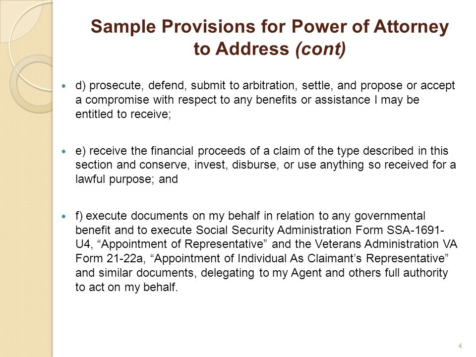 Sample Provisions for Power of Attorney to Address (cont)