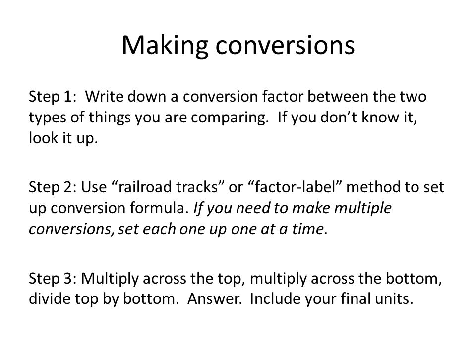 Making conversions