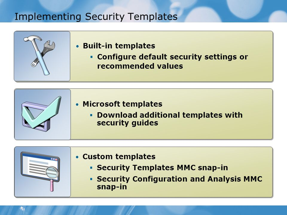 Implementing Security Templates