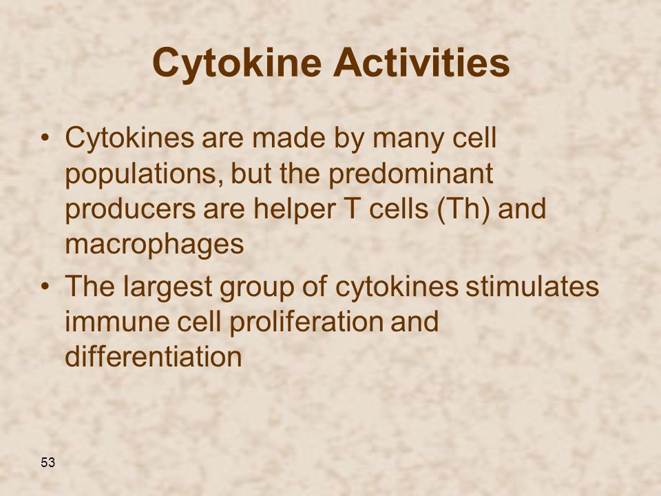 Cytokine Activities Cytokines are made by many cell populations, but the predominant producers are helper T cells (Th) and macrophages.
