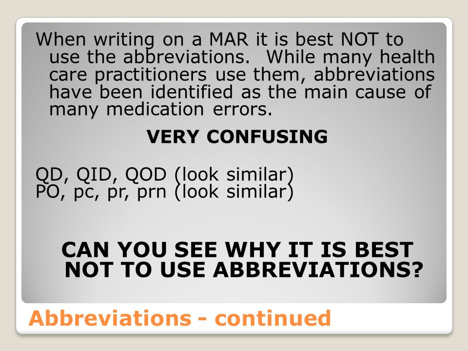 Abbreviations - continued
