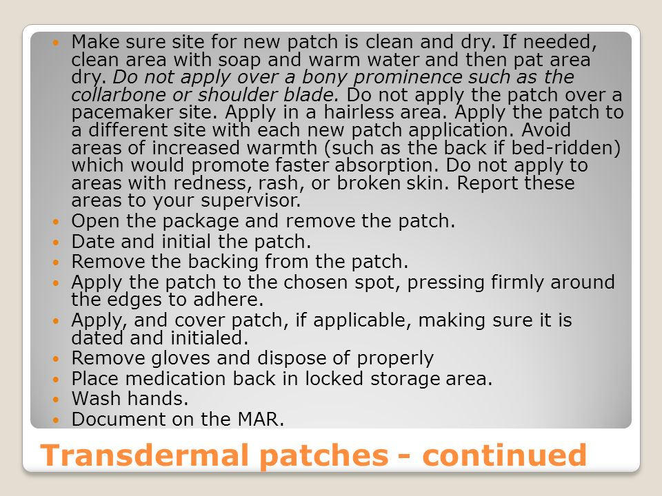Transdermal patches - continued