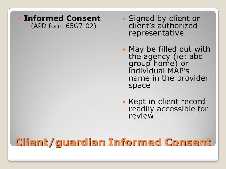 Client/guardian Informed Consent