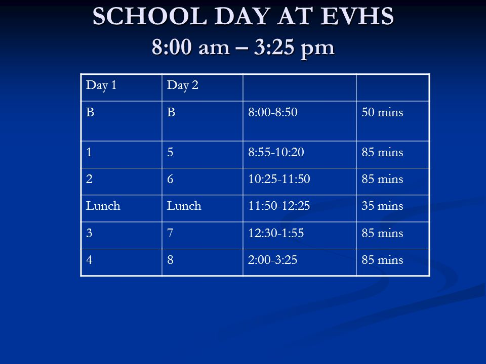 SCHOOL DAY AT EVHS 8:00 am – 3:25 pm