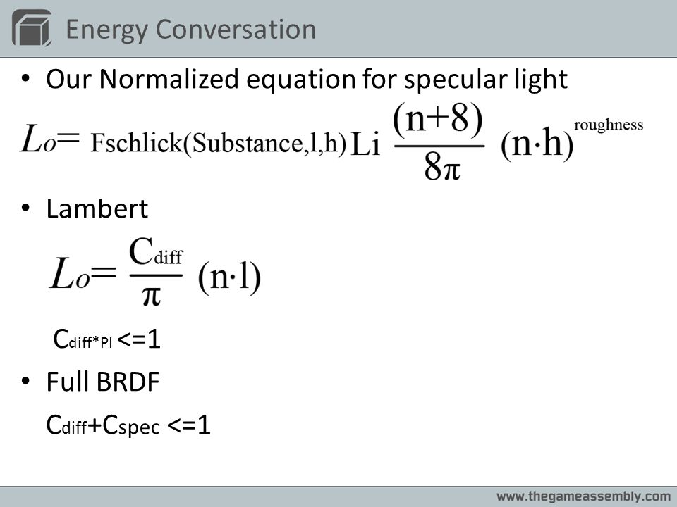 Our Normalized equation for specular light