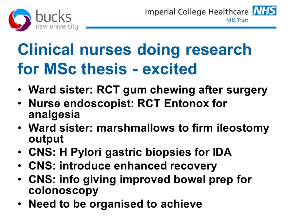 Clinical nurses doing research for MSc thesis - excited