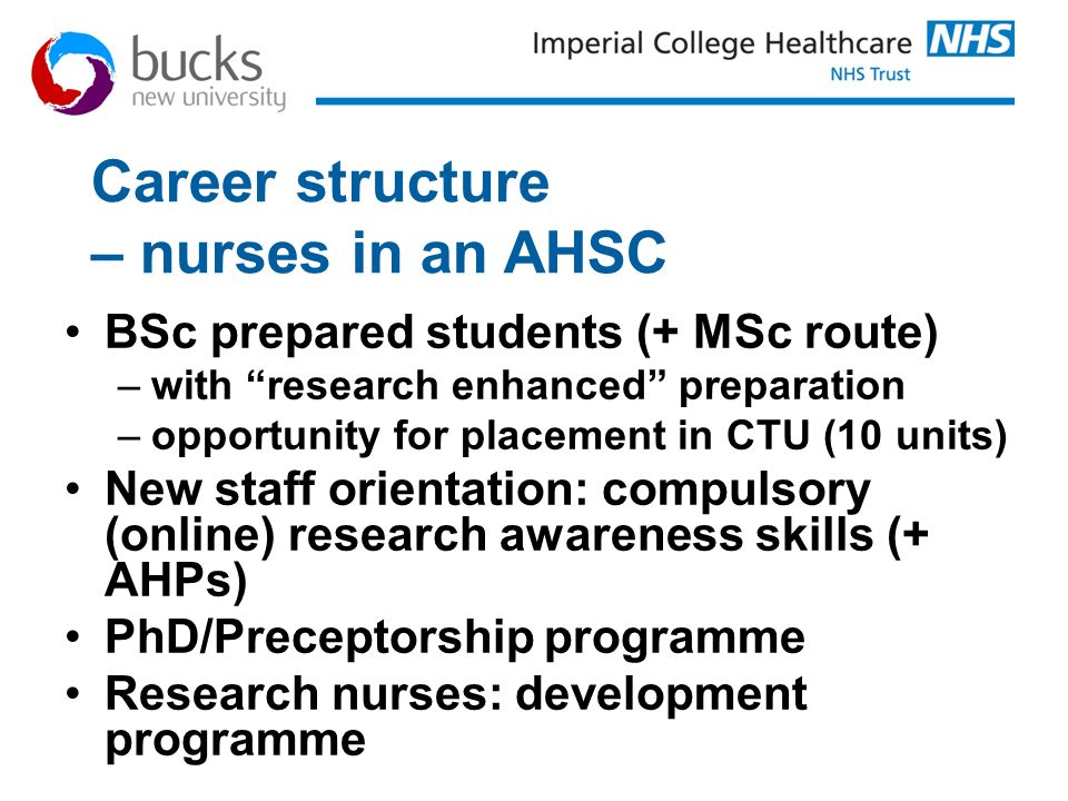 Career structure – nurses in an AHSC