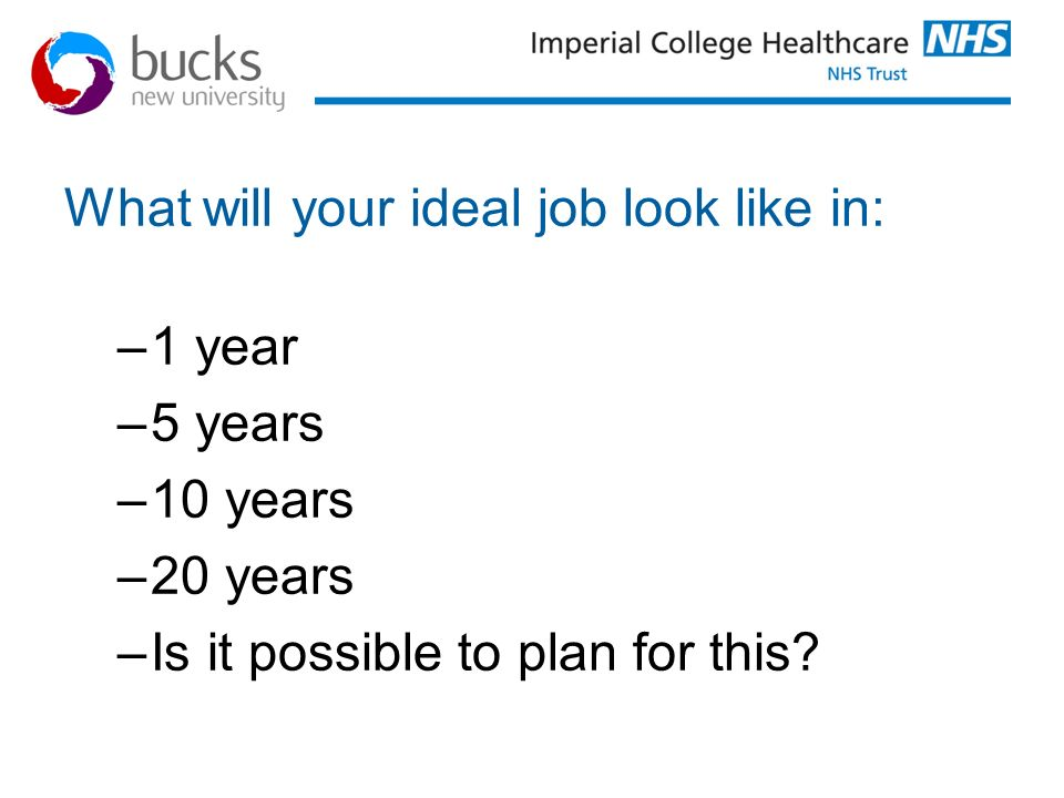 What will your ideal job look like in: