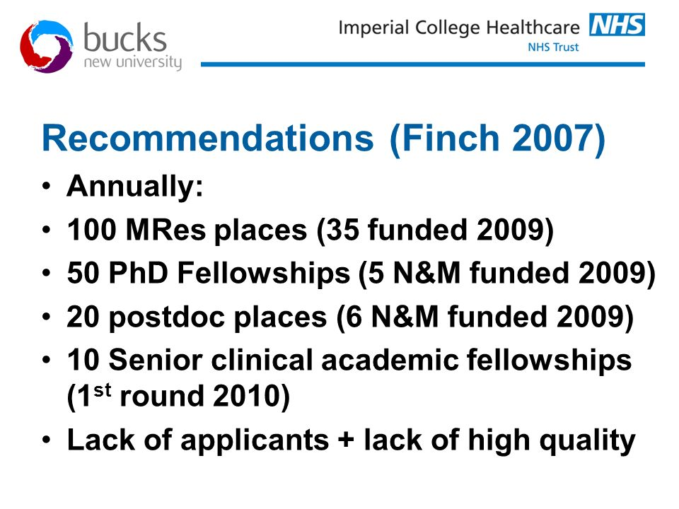 Recommendations (Finch 2007)
