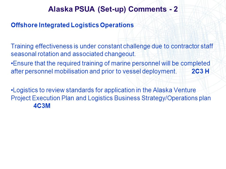 Alaska PSUA (Set-up) Comments - 2