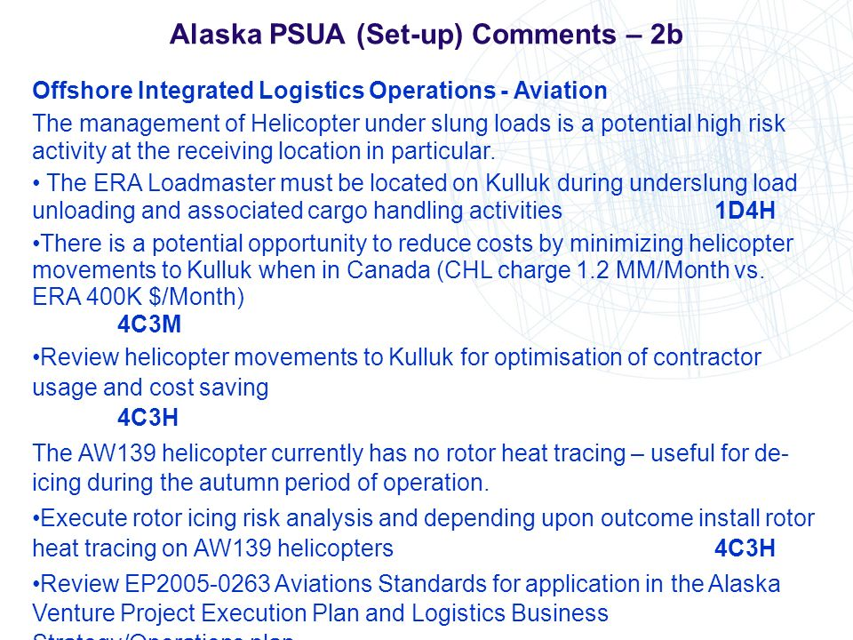 Alaska PSUA (Set-up) Comments – 2b