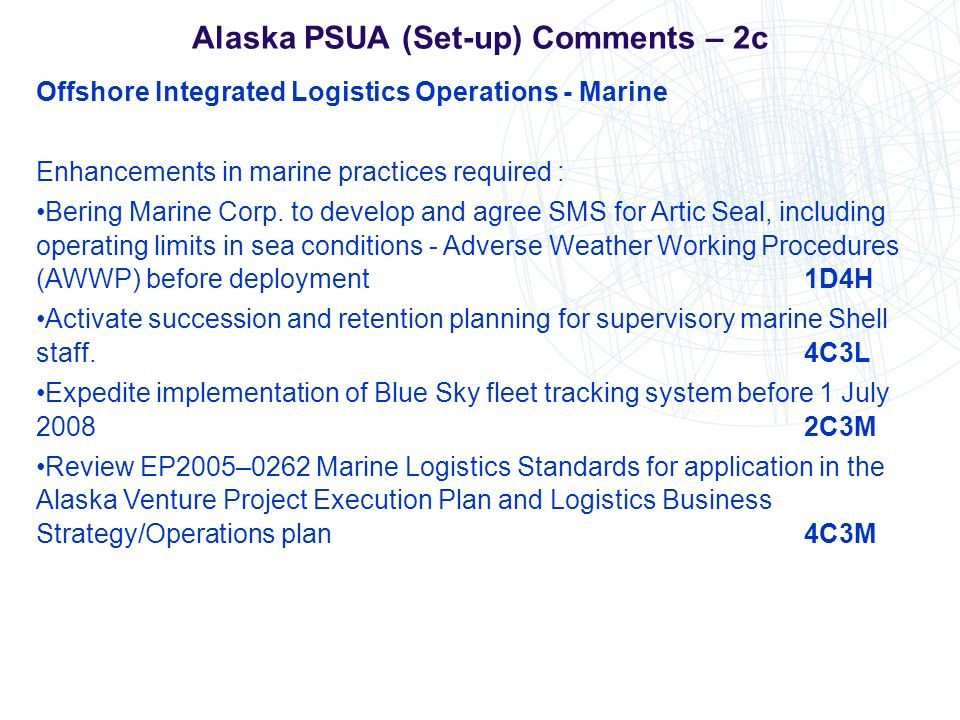 Alaska PSUA (Set-up) Comments – 2c