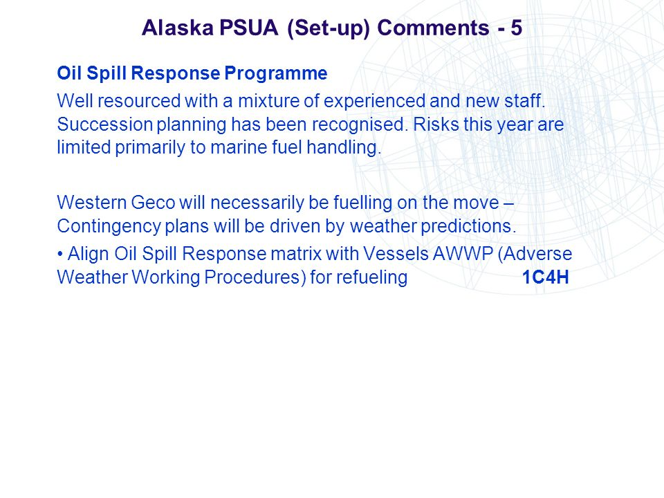 Alaska PSUA (Set-up) Comments - 5