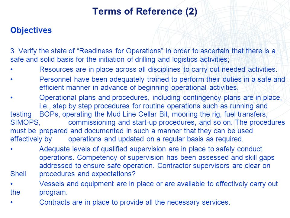 Terms of Reference (2) Objectives