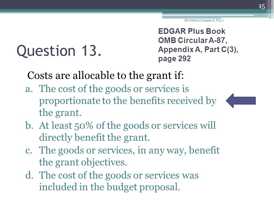 Question 13. Costs are allocable to the grant if: