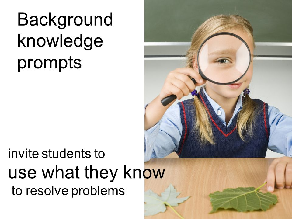 Background knowledge prompts use what they know invite students to