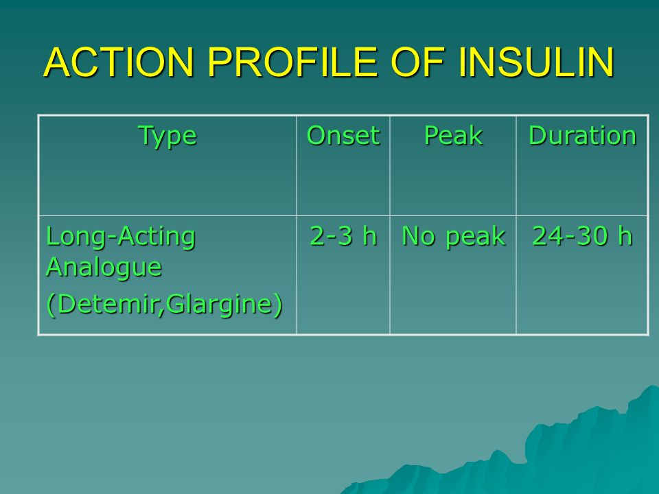 ACTION PROFILE OF INSULIN