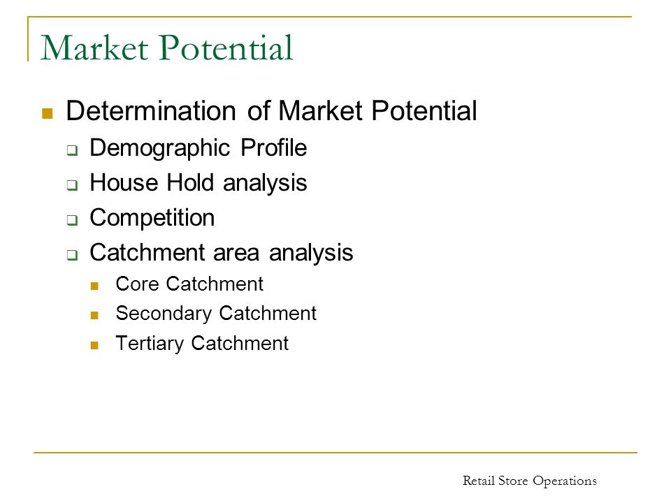 Market Potential Determination of Market Potential Demographic Profile