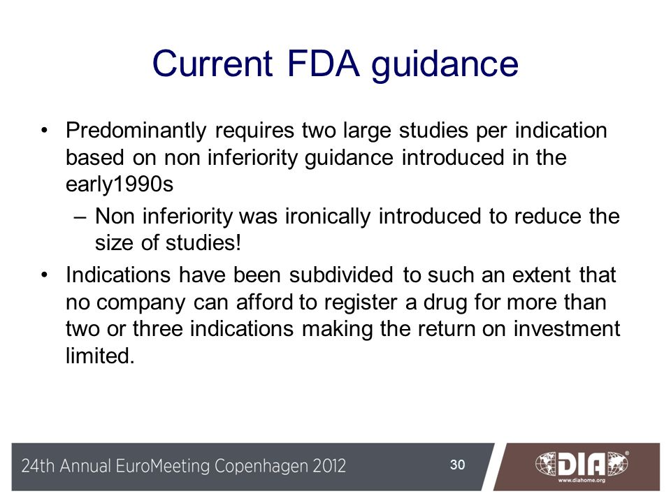 Current FDA guidance Predominantly requires two large studies per indication based on non inferiority guidance introduced in the early1990s.
