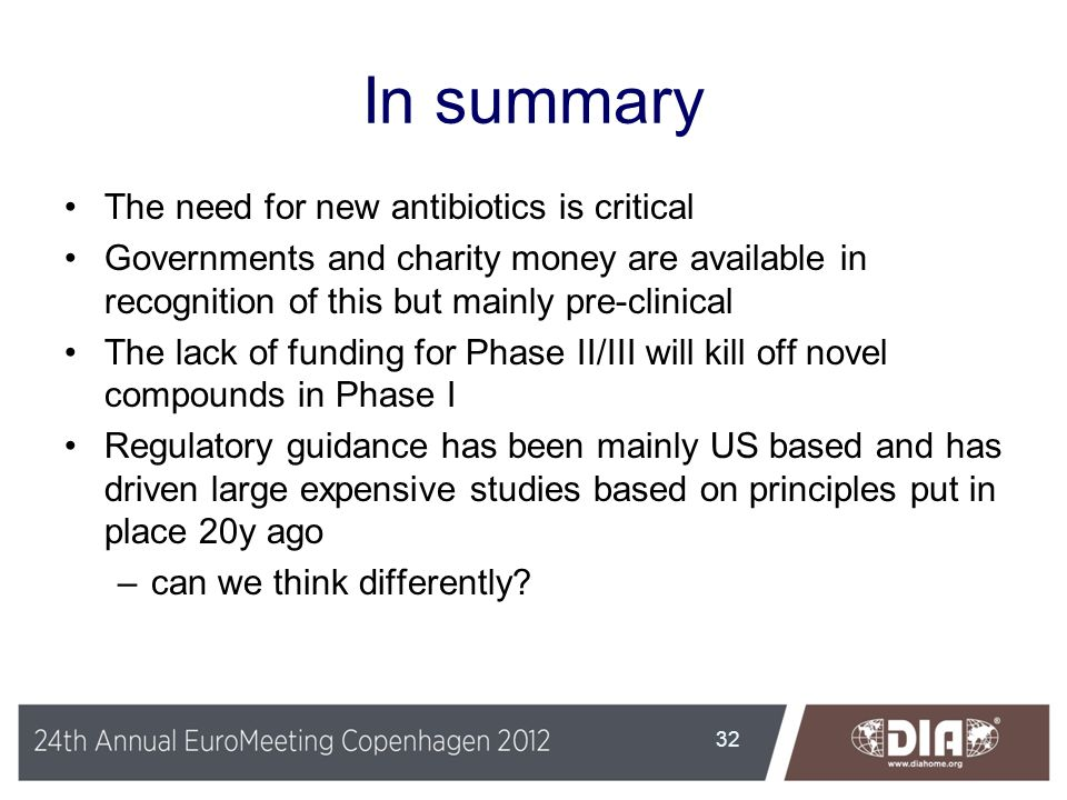 In summary The need for new antibiotics is critical