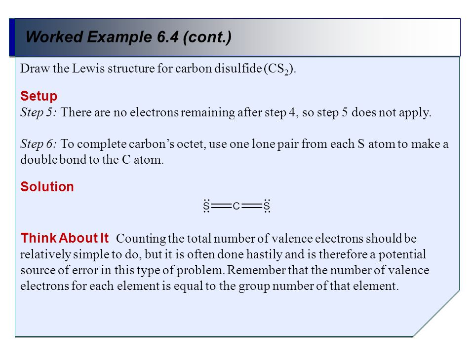 Worked Example 6.4 (cont.) Draw the Lewis structure for carbon disulfide (CS2). Setup.