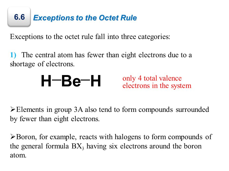 H Be 6.6 Exceptions to the Octet Rule
