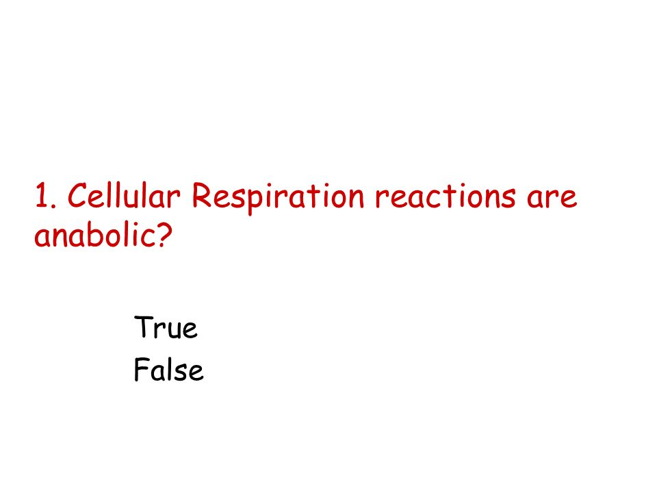 1. Cellular Respiration reactions are anabolic