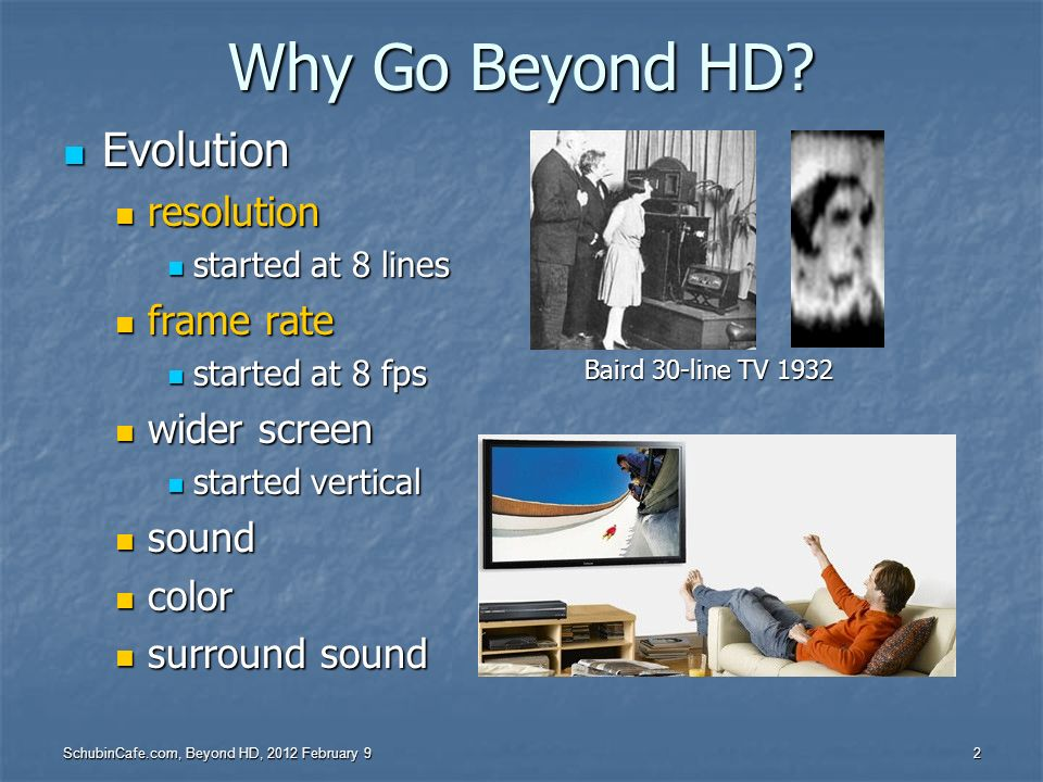 Why Go Beyond HD Evolution resolution frame rate wider screen sound