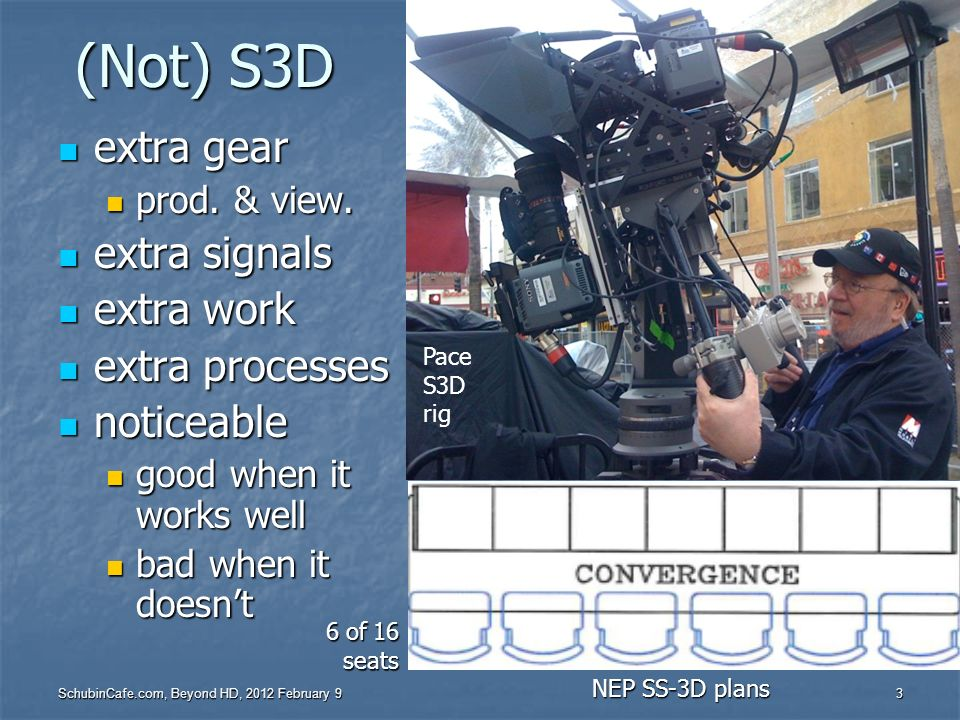 (Not) S3D extra gear extra signals extra work extra processes