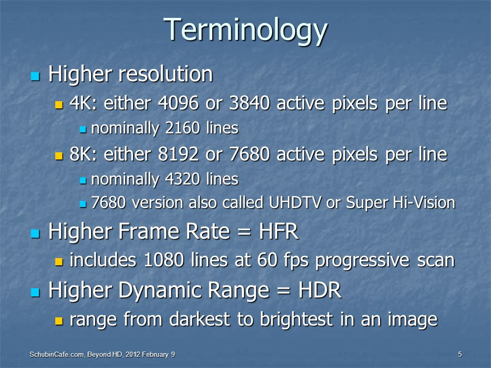 Terminology Higher resolution Higher Frame Rate = HFR