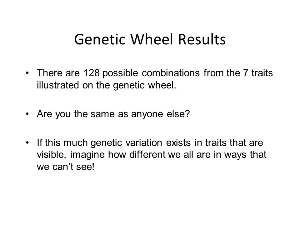 Genetic Wheel Results There are 128 possible combinations from the 7 traits illustrated on the genetic wheel.