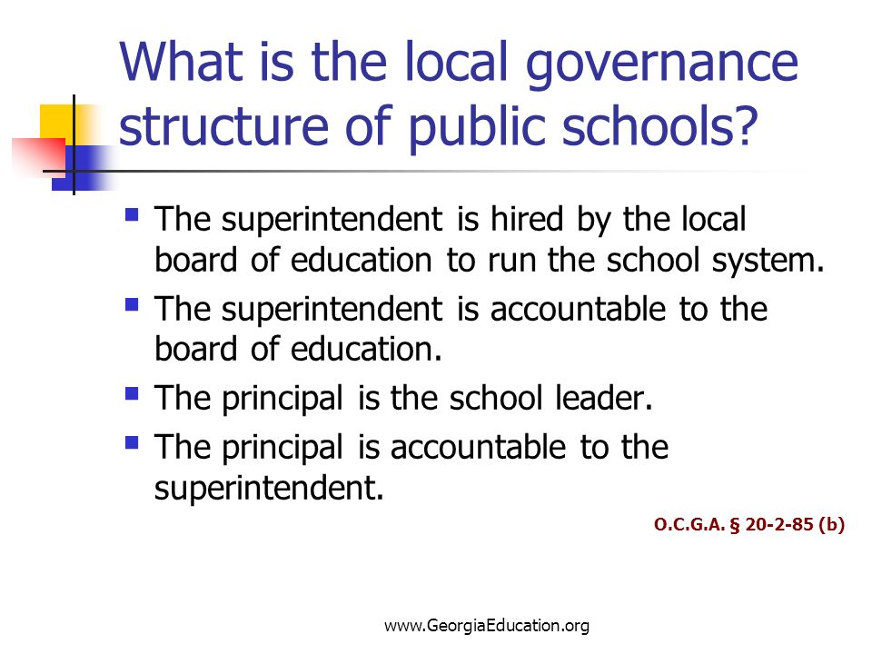 What is the local governance structure of public schools
