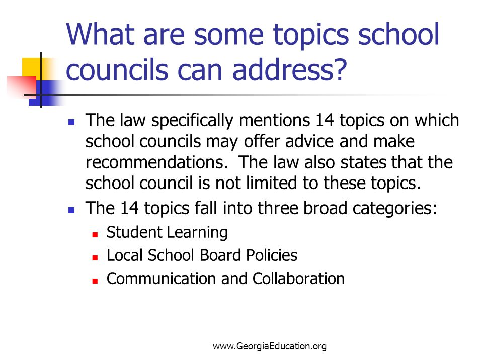 What are some topics school councils can address