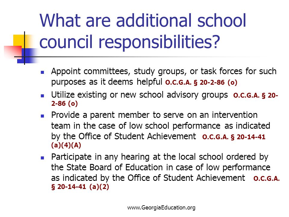 What are additional school council responsibilities