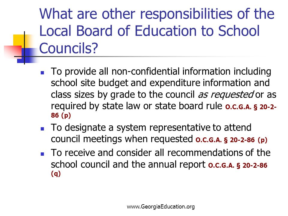 What are other responsibilities of the Local Board of Education to School Councils