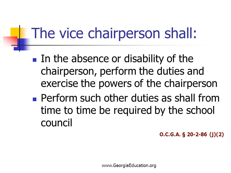 The vice chairperson shall: