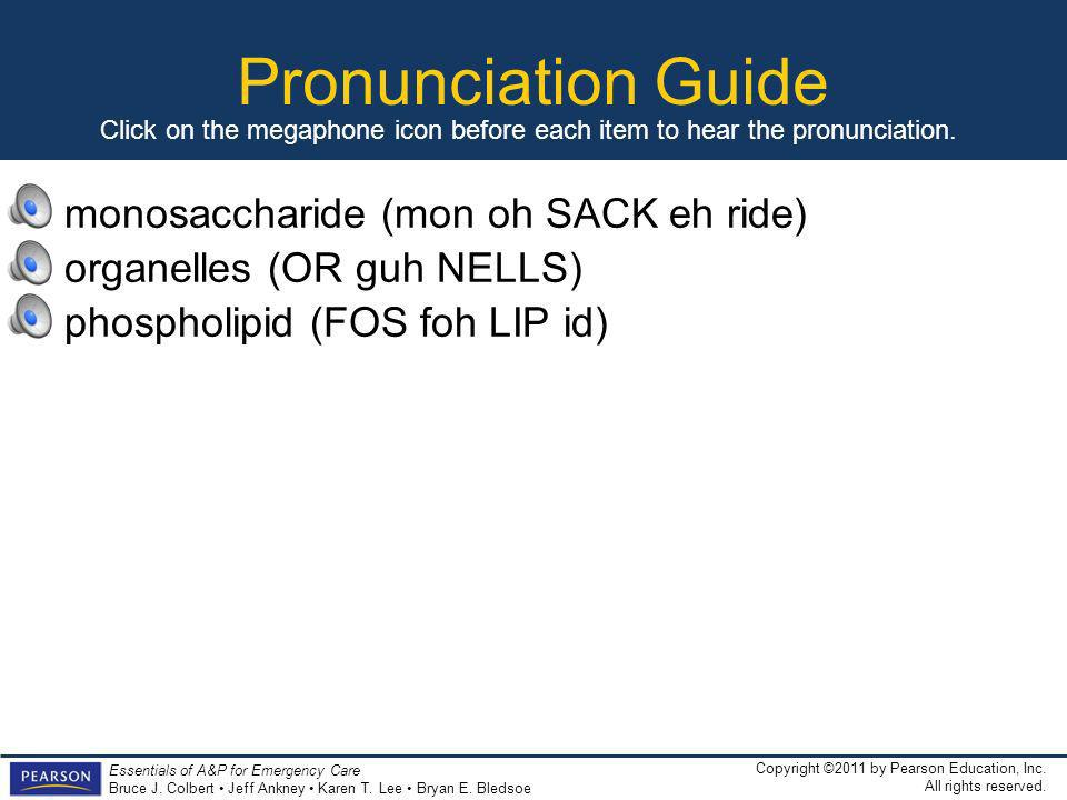 Pronunciation Guide monosaccharide (mon oh SACK eh ride)