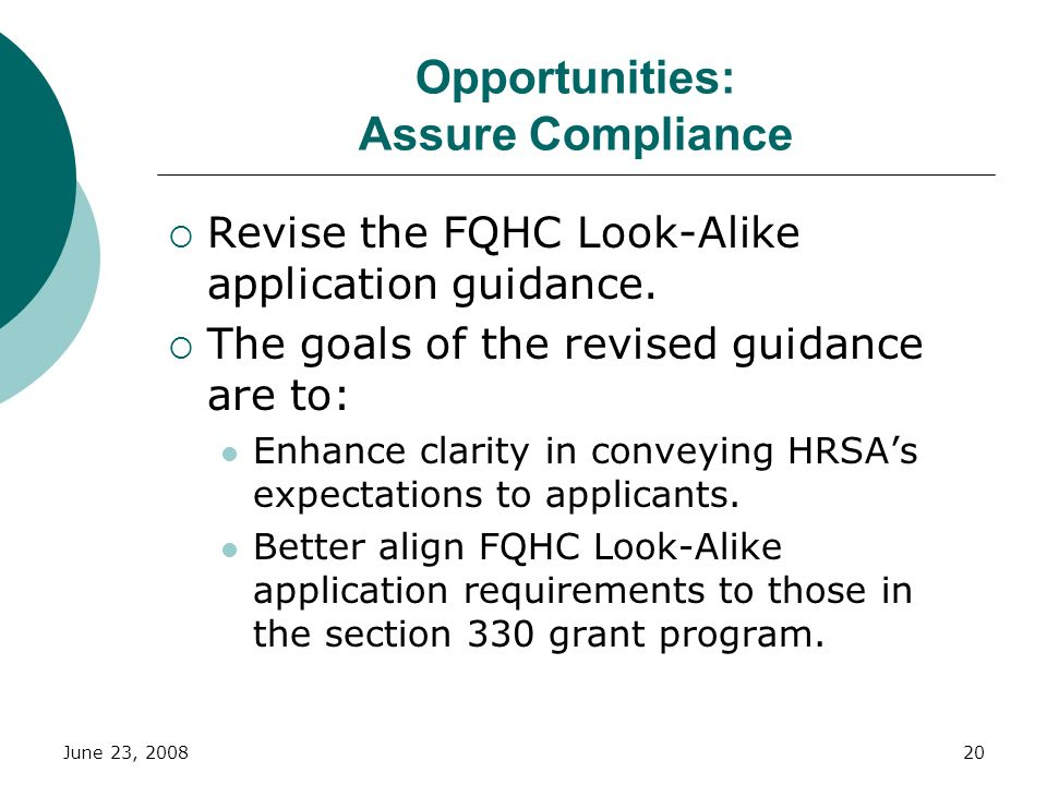 Opportunities: Assure Compliance
