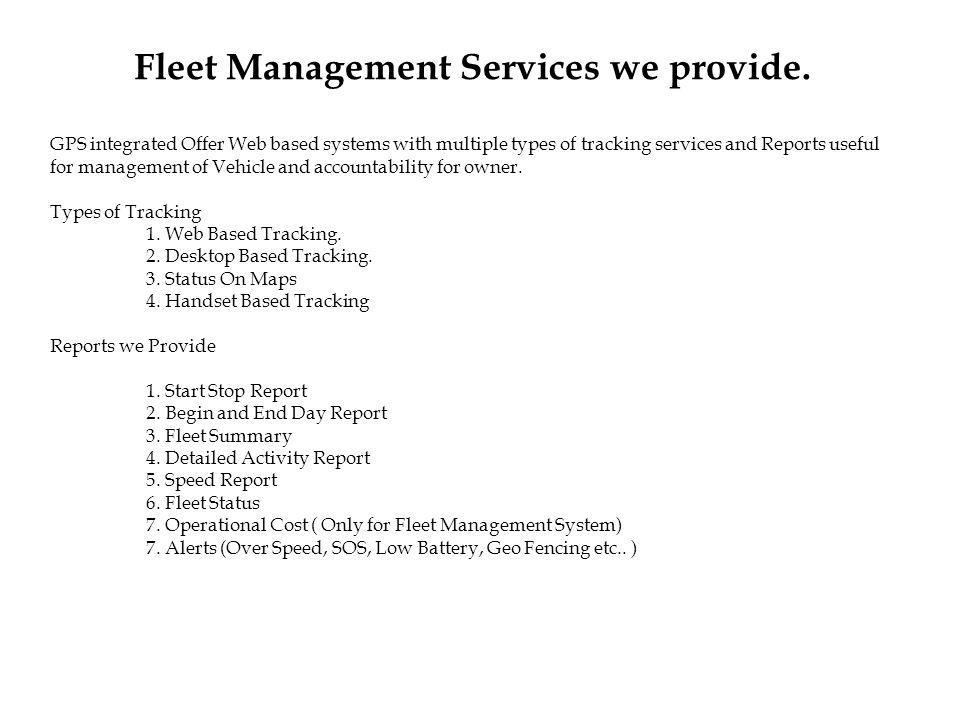Fleet Management Services we provide.