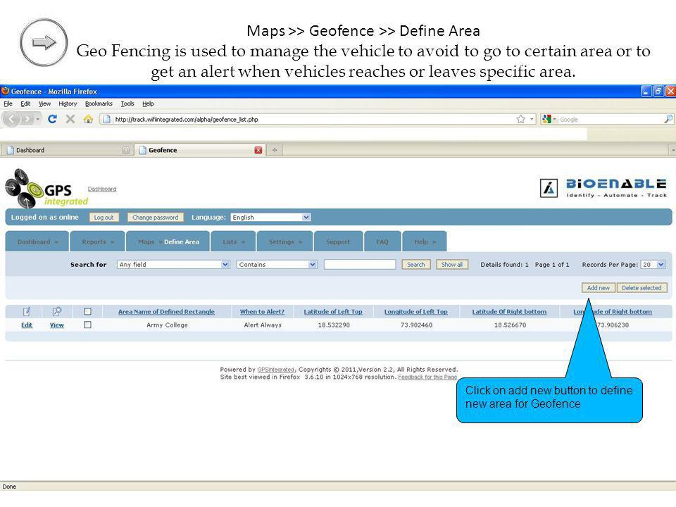 Maps >> Geofence >> Define Area