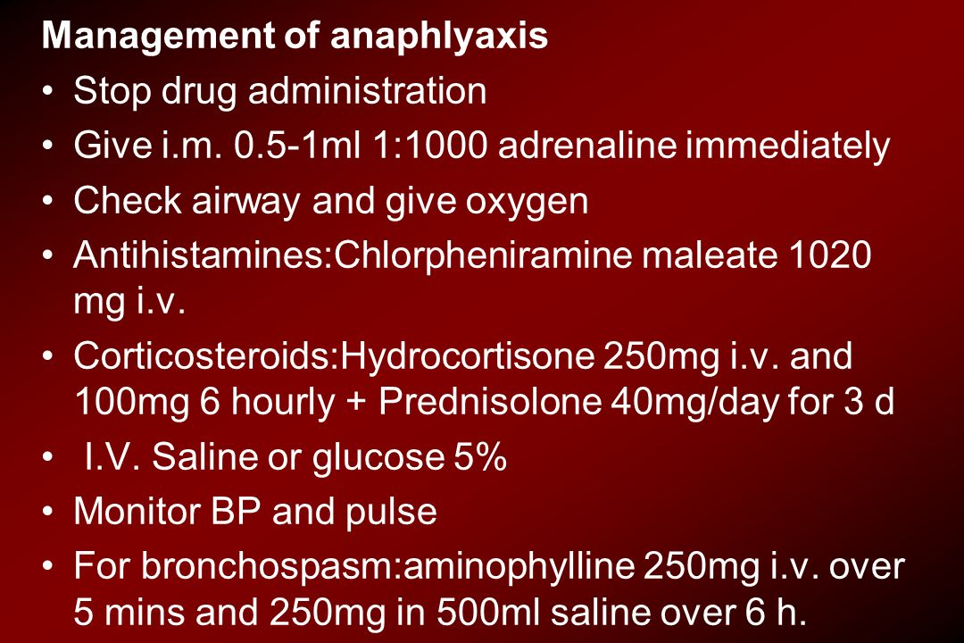 Management of anaphlyaxis