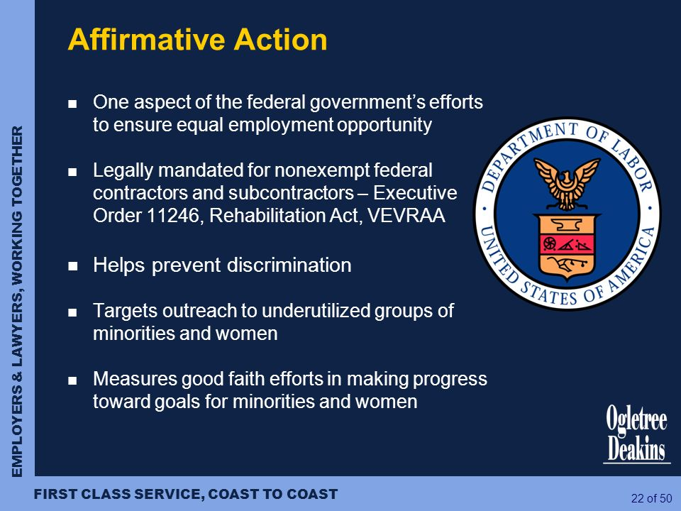 Affirmative Action Helps prevent discrimination