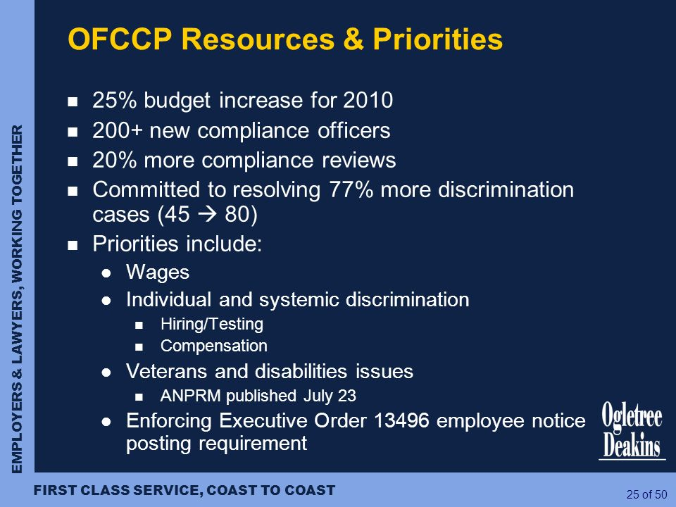 OFCCP Resources & Priorities